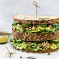 Straight on angle of vegan tuna sandwich - Fit Foodie Nutter