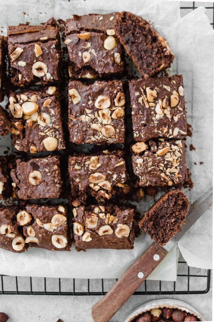 Chocolate brownies with hazelnuts top down view