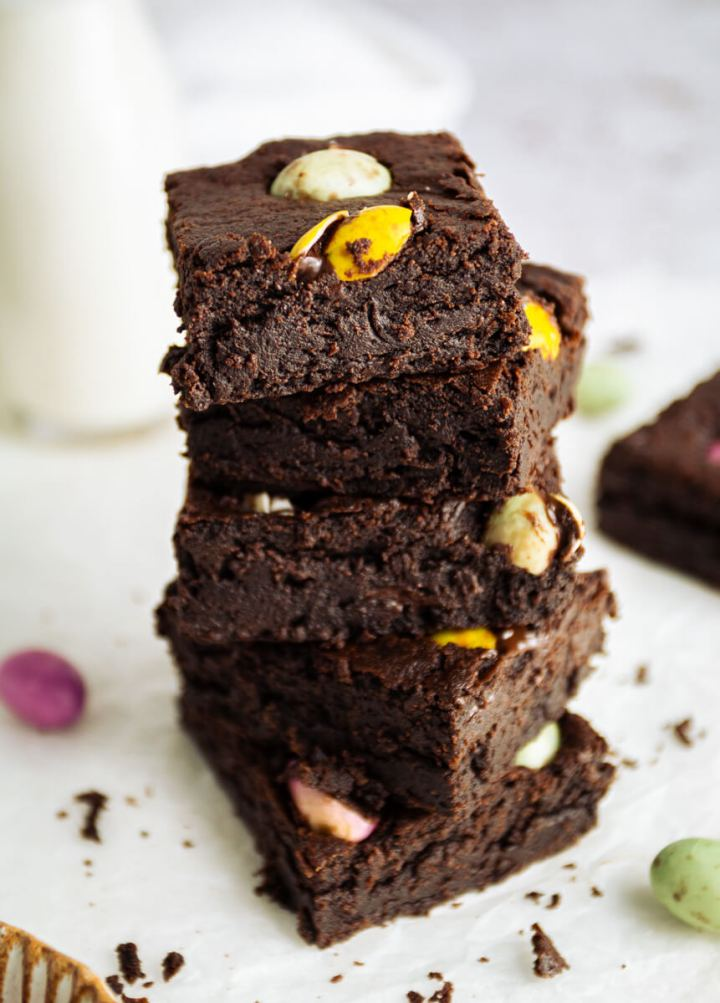 A stack of vegan mini egg brownies