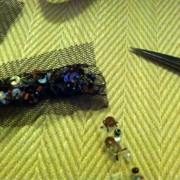 Removing beads from the end of the trim.