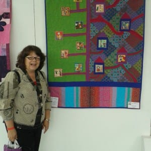 Here I am posing with one of my favorite quilts that included embroideries from Afghanistan.