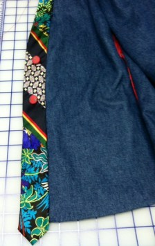 Pieced tie for long front band.