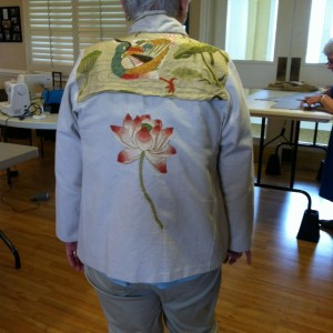 This pieced jacket is especially lovely because the pattern was adjusted for a rounded back before the lovely yoke was added.