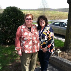 Several Easters ago, our friend Susie in her peach cotton TRJ and I am wearing the silk swing jacket.