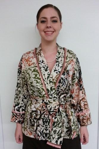 Sarah Wearing Sashed Jacket