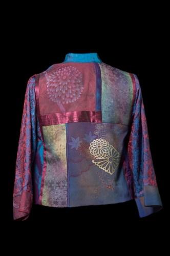 Burgundy & Blue Silk Kimono Splendor- back