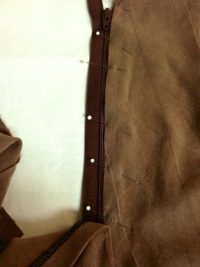 zipper pinned into place.