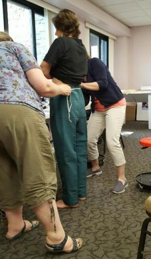 A pants fitting at our licensing Seminar