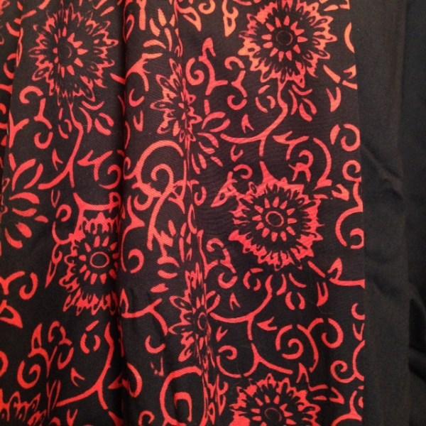 Black Red rayon batik