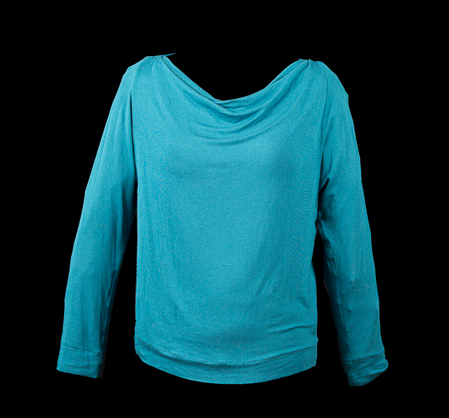 Turquoise Draped Front Tee