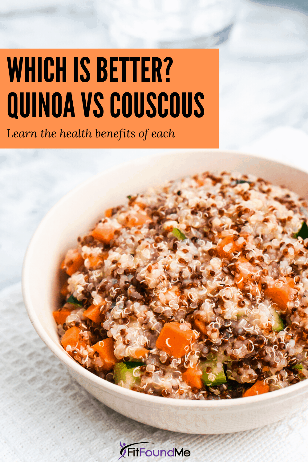 bowl of salad with quinoa and overlay of which is better? quinoa vs couscous learn the health benefits of each