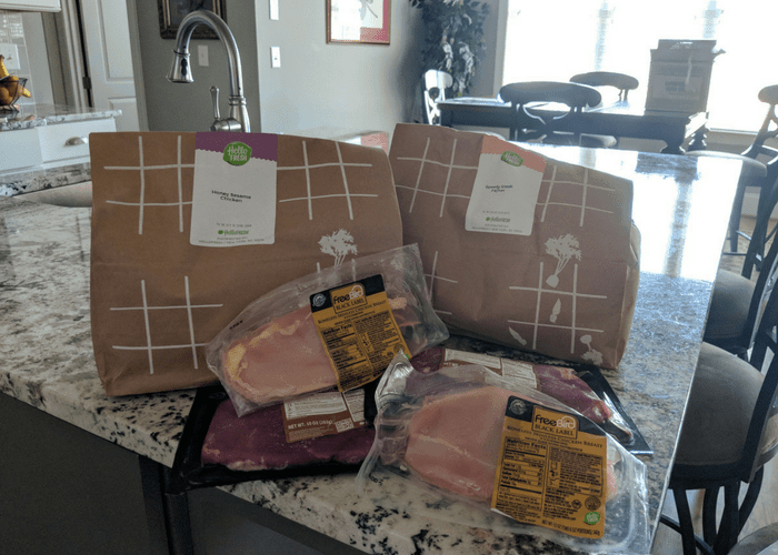 2 meals of hello fresh meals with meat
