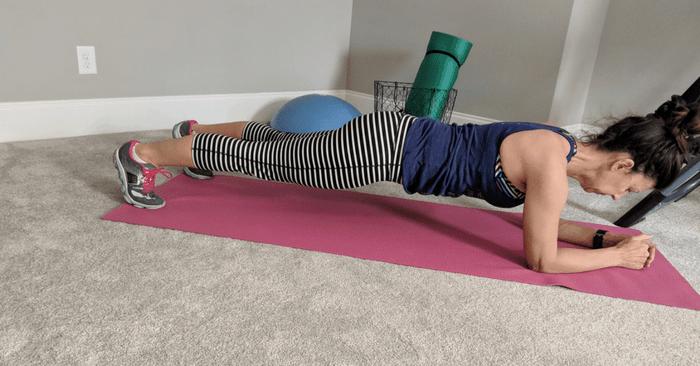 Stephanie doing a plank exercise
