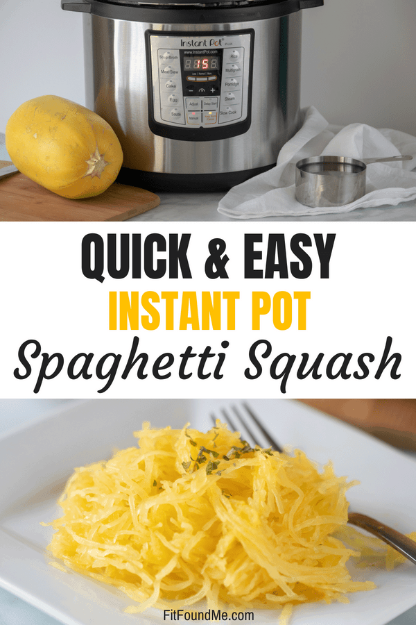 spaghetti squash instant pot and measuring cup and cooked spaghetti squash on white plate with fork for dinner