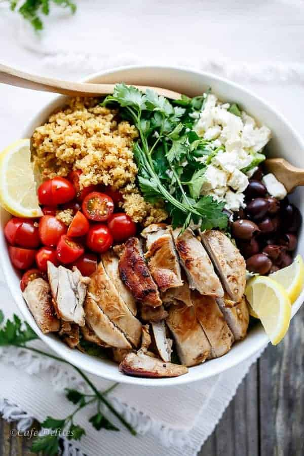 quinoa salad bowl with chicken tomatoes black beans corn cilantro lime