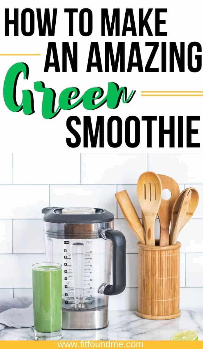 green smoothie with blender on counter