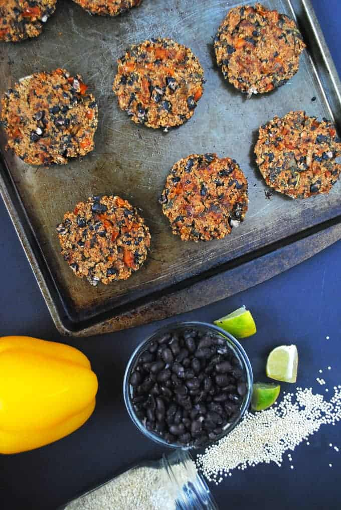 quinoa burgers with black beans and veggies