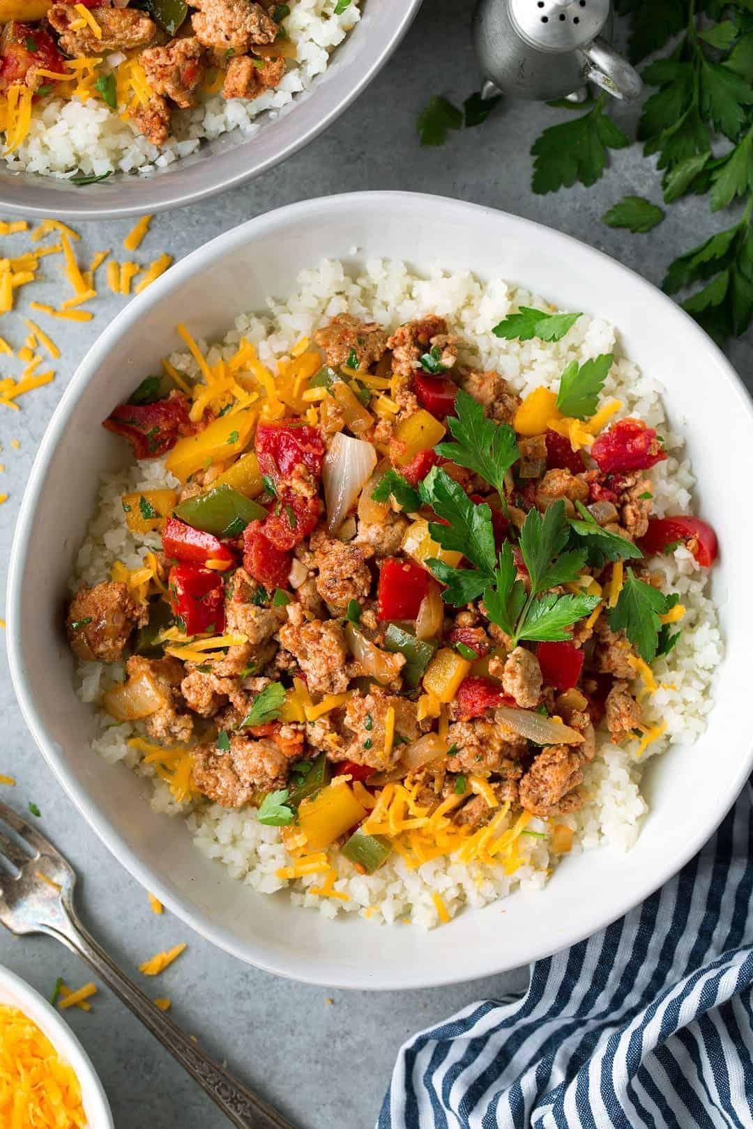 Unstuffed pepper bowls with ground turkey