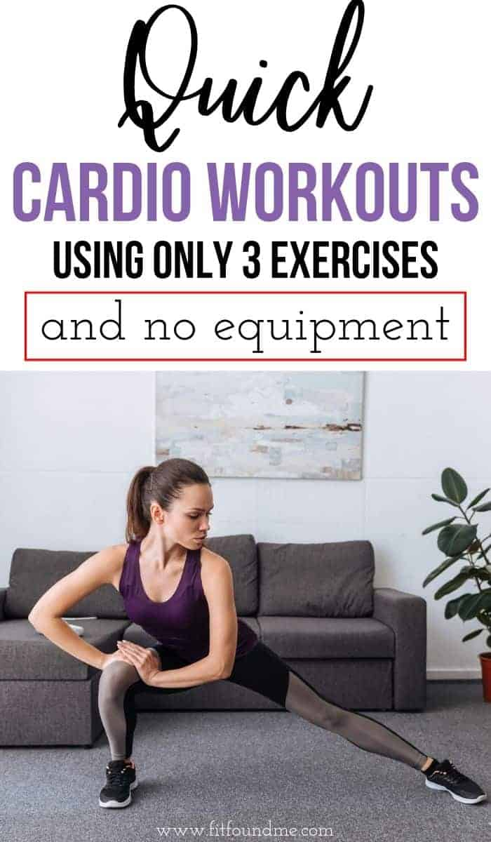 lady working out in living room at home doing cardio without equipment