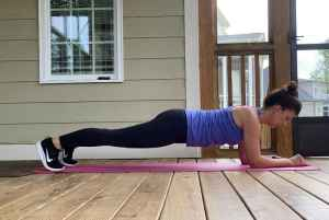 woman doing low plank
