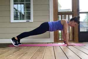 woman doing wide plank