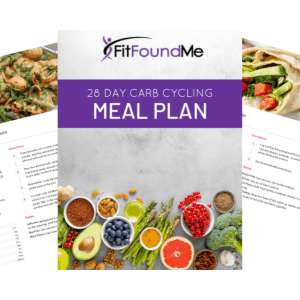 cover and 2 pages from carb cycling meal plan book