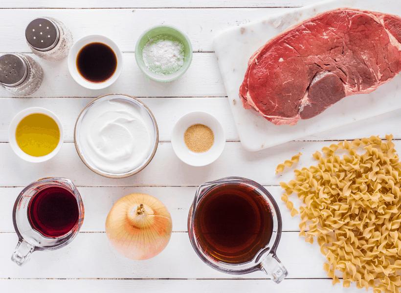 steak, egg noodles, red cooking wine, onion, greek yogurt, for beef stroganoff
