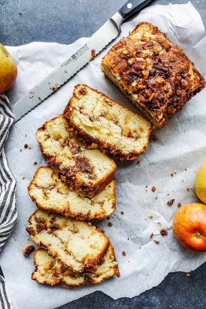 no yeast apple cinnamon bread sliced