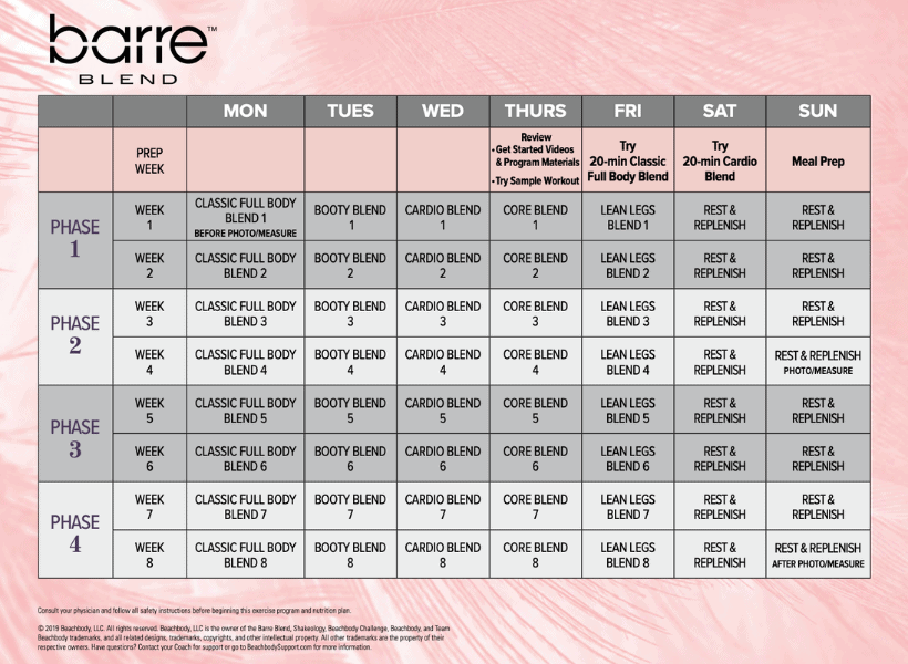 beachbody barre blend 8 week workout calendar