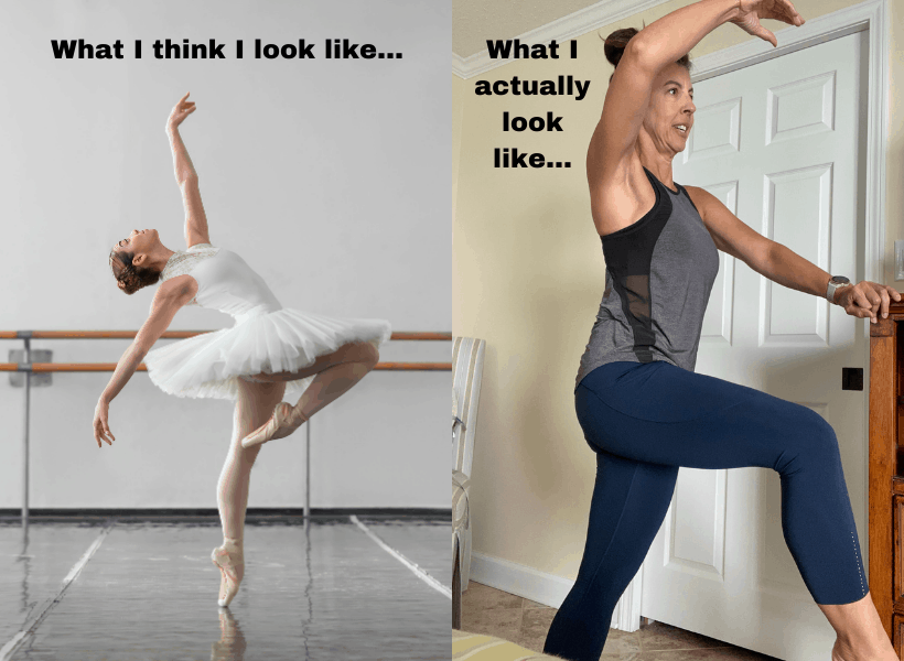 ballerina on one side and normal lady doing barre workout at home on the other side