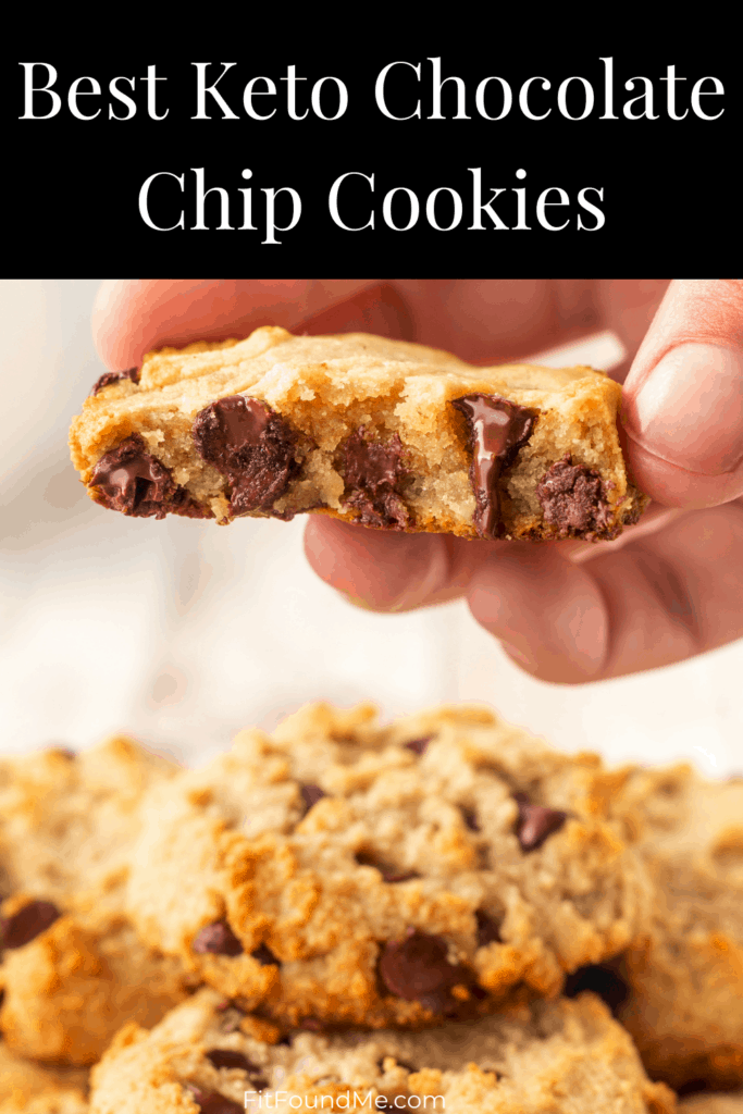 fresh baked keto cookies with a bite taken