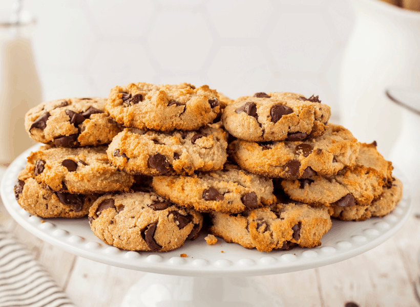 large plate of keto chocolate chip cookies