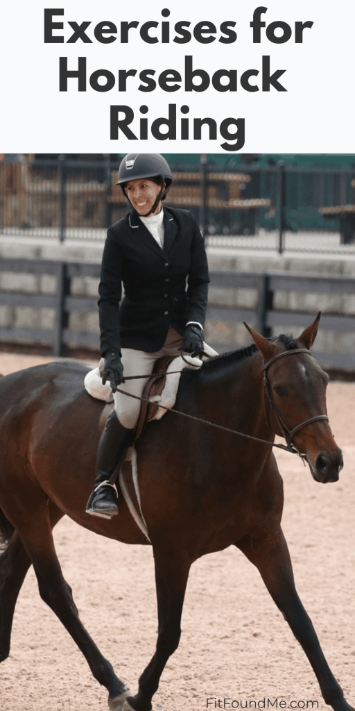 lady riding horse in ring for exercises for horseback riders
