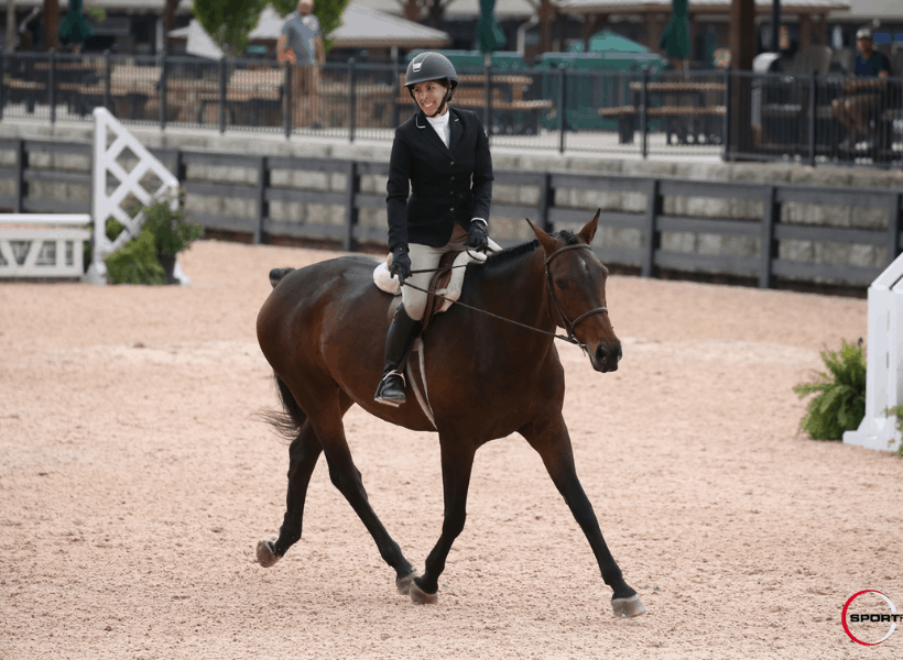 lady riding horse at trot