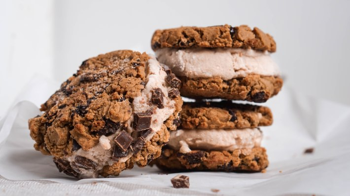 Vegan and healthy cookie ice cream sandwiches with gluten free protein cookies and homemade ice cream
