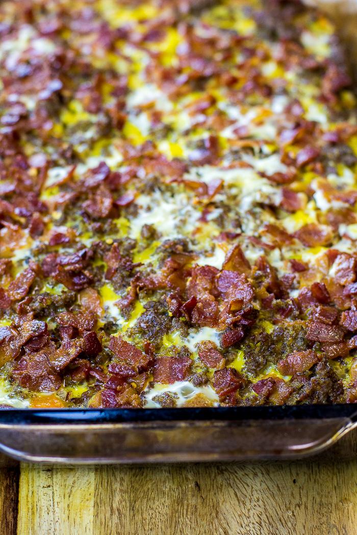 Paleo Three Meat and Sweet Potato Breakfast Casserole