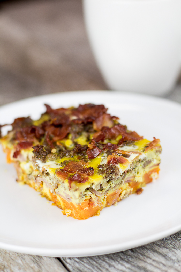 Paleo 3 Meat and Sweet Potato Breakfast Casserole