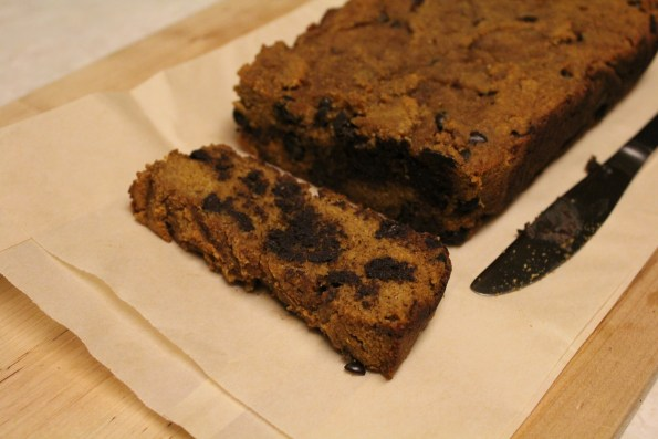 Paleo Pumpkin Chocolate Chip Bread - a moist, dense and delicious paleo bread, perfect for fall!