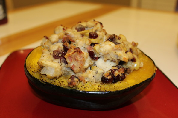 Paleo Chicken Stuffed Acorn Squash - a tasty paleo meal that combines all of the delicious flavors of fall!