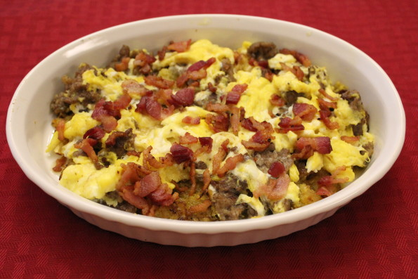 """Paleo Low-carb Breakfast Skillet with Spaghetti Squash """"hash browns,"""" sausage, bacon and eggs - a tasty, low-carb breakfast!"""
