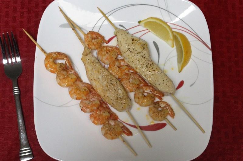 Lemon Paprika Chicken and Shrimp Skewers