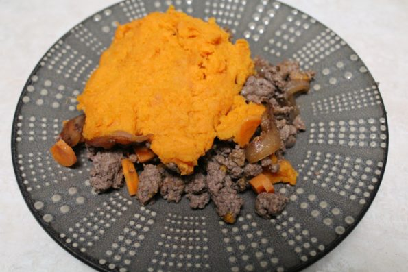 Paleo Sweet Potato Shepherd's Pie with Caramelized onions