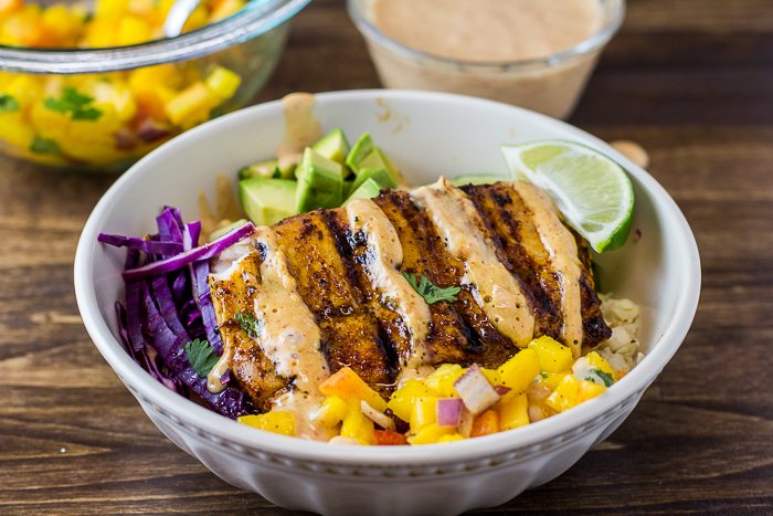 Grilled Mahi Mahi Taco Bowls with Peach Mango Salsa and Chipotle Lime Mayo (whole30)