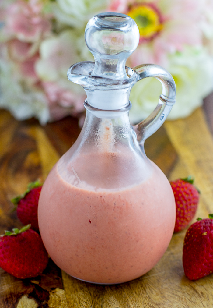 Sweet Strawberry Dressing - a delicious homemade paleo salad dressing to add sweetness to any salad!
