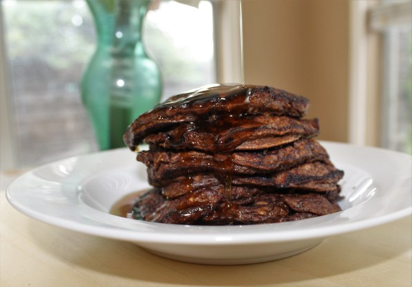 Chocolate Sweet Potato and Oatmeal pancakes. Gluten free, all natural and delicious!