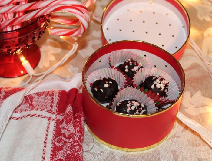 Dark Chocolate Peppermint Truffles in a box