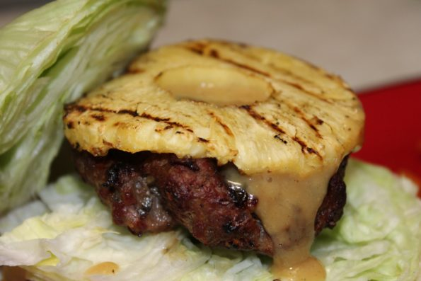 Grilled Pineapple BBQ Burgers (paleo) with homemade mustard BBQ sauce