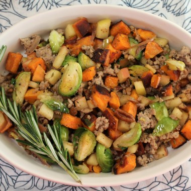 Whole30 Harvest Breakfast Hash with sweet potatoes, brussel sprouts, homemade sausafe, apples and rosemary