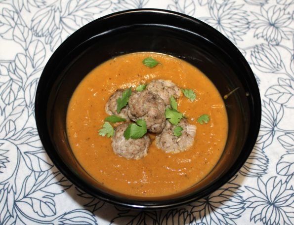 Roasted Butternut Squash & Sweet Potato Soup with Italian Pork Meatballs - paleo and Whole 30 compliant