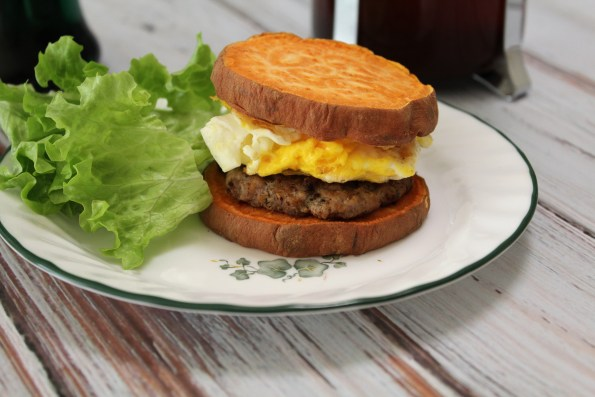 Whole 30 Breakfast Sandwiches with Sweet Potato Buns and Homemade whole 30 breakfast sausage
